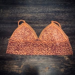Orange Leopard Print Triangle Lace Bralette